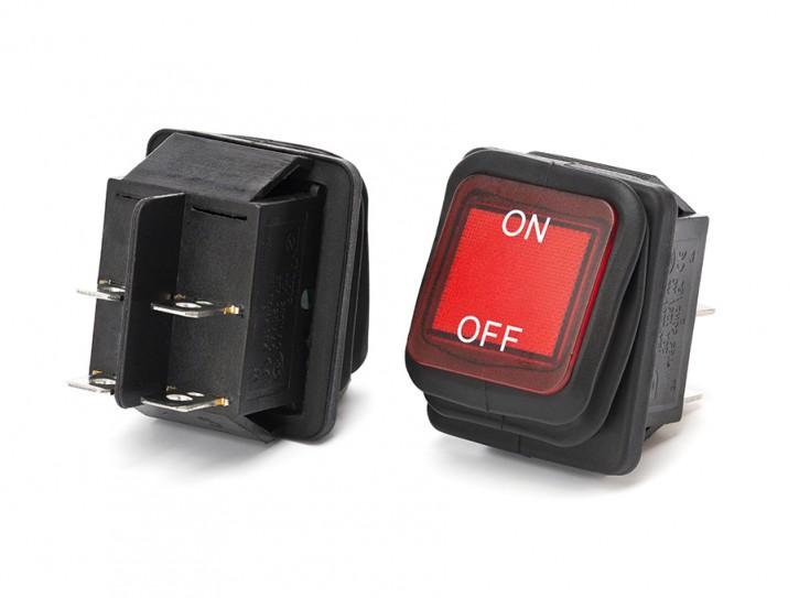 2-Phasen Wippschalter IP54 wassergeschützt Rot