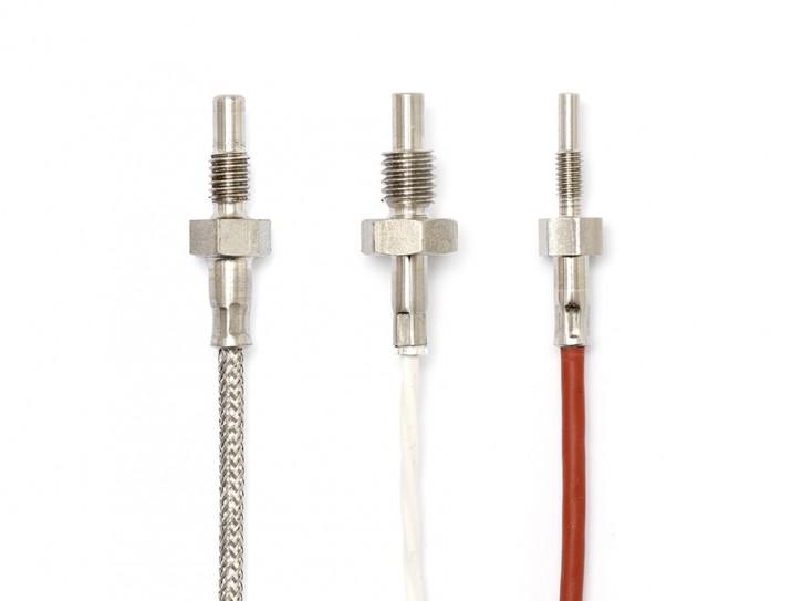 Pt100 Gewinde-Temperaturfühler mit 17mm Eintauchtiefe Glasfaser / Glasfaser / VA 3x0,22mm² (-50 ...+400°C) / M6 (SW10) / 5 Meter