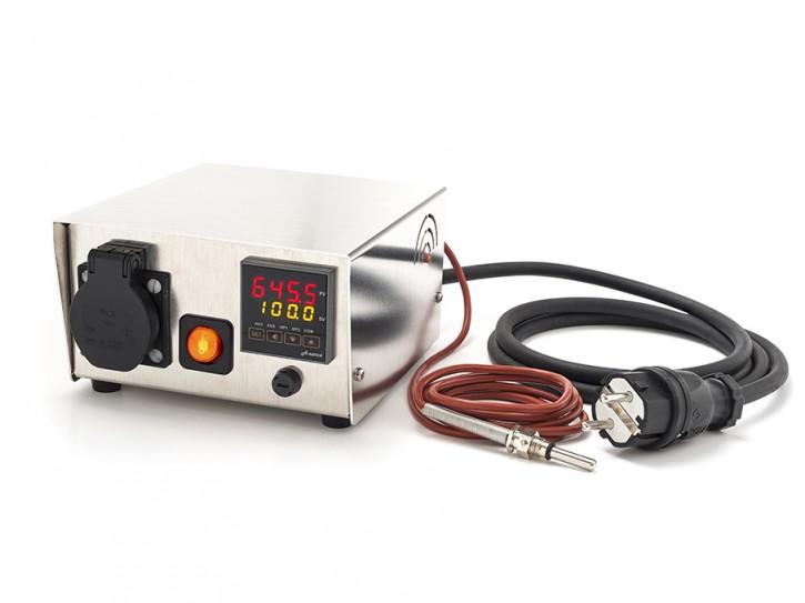 Temperatursteuerung bis 16A Last mit Schukosteckdose mit PT100 Sensorbuchse