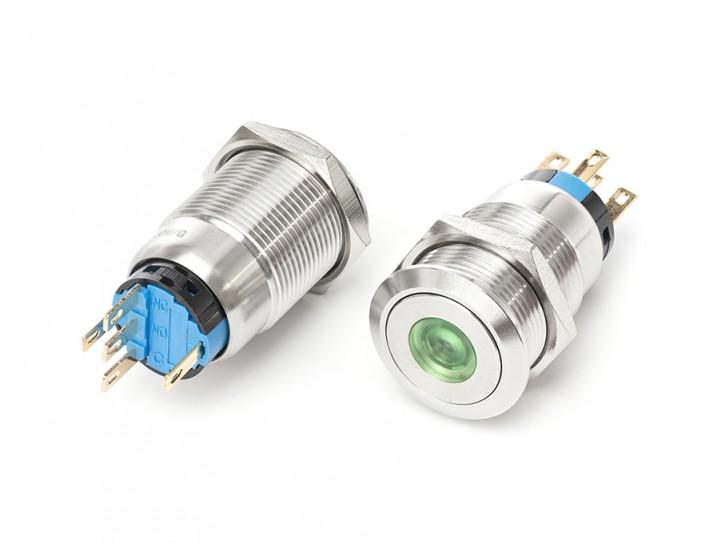 Tastschalter aus Edelstahl mit grüner LED 230V max. 3A