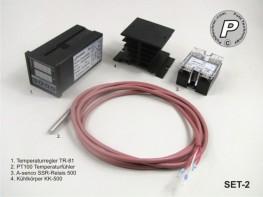 SET-2 Einbauset Temperaturregler +PT100, SSR-Relais mit Kühler