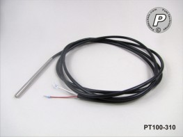 PT100-310 Temperatursensor lang 100x6 KS - Kabel 2m ...105°C