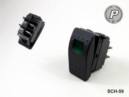 SCH-59 Wippschalter Rechteckig Grün