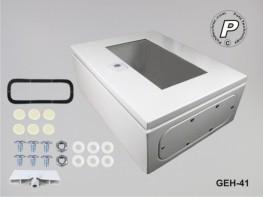 GEH-41 Wandschaltschrank Stahl m. transparenter Plexiglastüre Grau