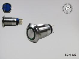 SCH-522 Metallischer Tastschalter mit grüner LED 230V max. 3A