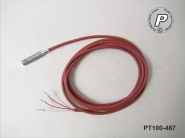 PT100-487 Anlegefühler m. Bohrung u. 2m Silikonleitung ...200°C