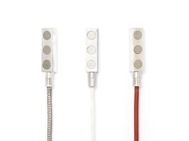 Pt100 Anlegefühler magnetisch 2 Meter / Glasfaser / VA-Geflecht -50 ...+400°C