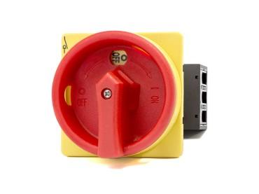 Hauptschalter 3-polig Ein-/Ausschaltung gelb/rot 25 Ampere
