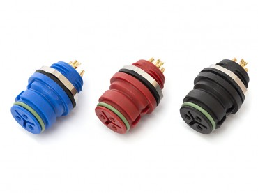 Miniatur Steckverbinder Flanschdose 3-polig Blau