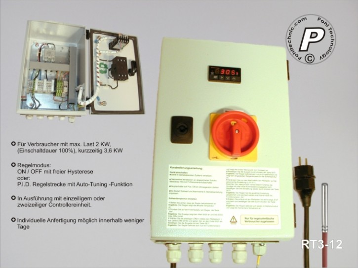 P.I.D.-Temperatursteuerung 230VAC 10A im Wandschaltschrank