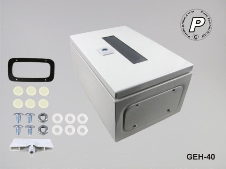 GEH-40 Wandschaltschrank Stahl m. transparenter Plexiglastüre Grau